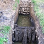 Badania archeologiczne w 2007 r. Odsłonięte umocnienie brzegów fosy pod murem zachodnim i podwójna palisad