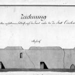 Najstarszy widok zamku z 1796 r. Rysunek
