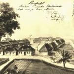 Pierwszy widok miasta i zamku z 1815 r. Rysunek akwarelą